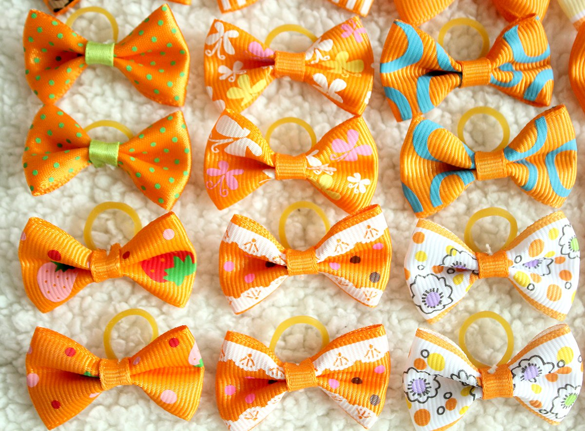 yagopet 40pcs/20pairs Small Dog Hair Bows Autumn Dog Bows Orange Dog Hair Bows Topknot Mix Designs Small Bowknot with Rubber Bands Pet Grooming Products Dog Hair Accessories by yagopet (Image #6)