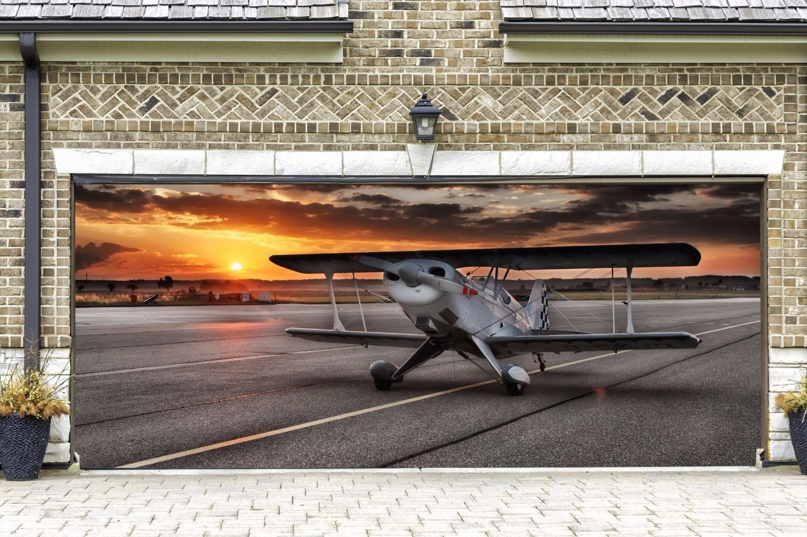 Real Looking Airplane Garage Door Outdoor Decor for 2 Car Billboard for House Cover Garage Door Decor Banner 3D Art Made in the USA Murals size 82x188 Dav86