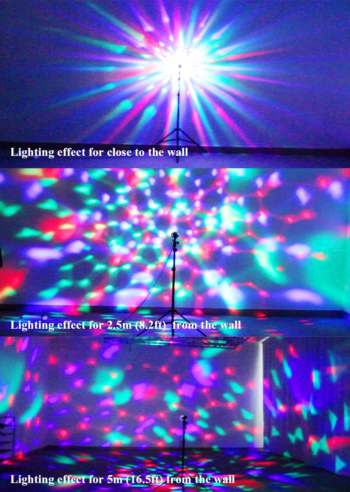 OTTFF 3W E27 Disco Ball Lamp RGB Rotating LED Sound Activated Strobe Lights Party Bulb Stage Light for Family Parties,Birthday,Desk Lamp with Remote Control by OTTFF (Image #6)