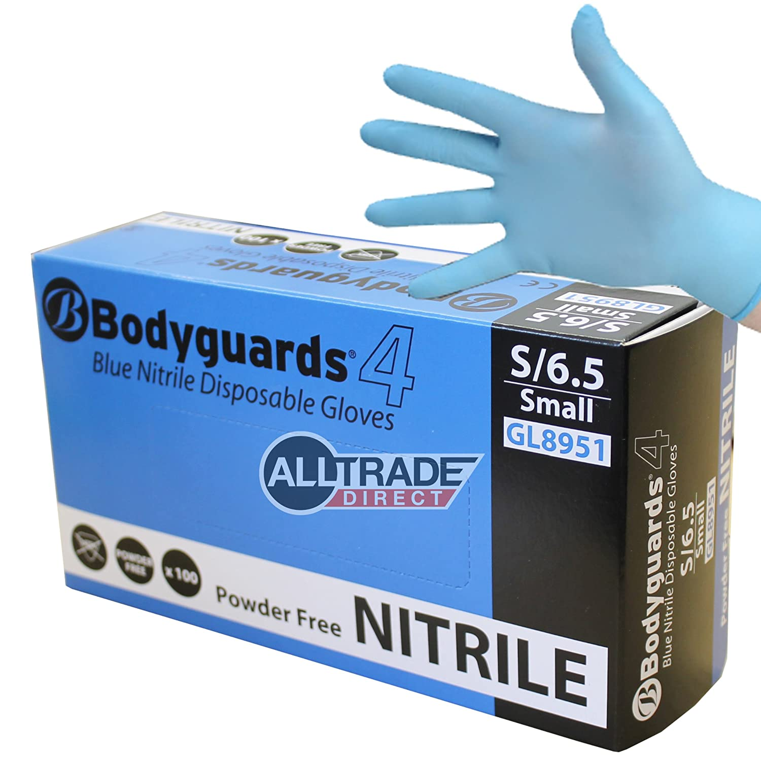 300 x BODYGUARDS 4 BLUE NITRILE SMALL POWDER FREE DISPOSABLE GLOVES 8951