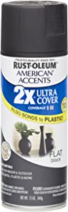 Rust Oleum 280711 American Accents Ultra Cover 2X Spray Paint, Flat Black, 12-Ounce