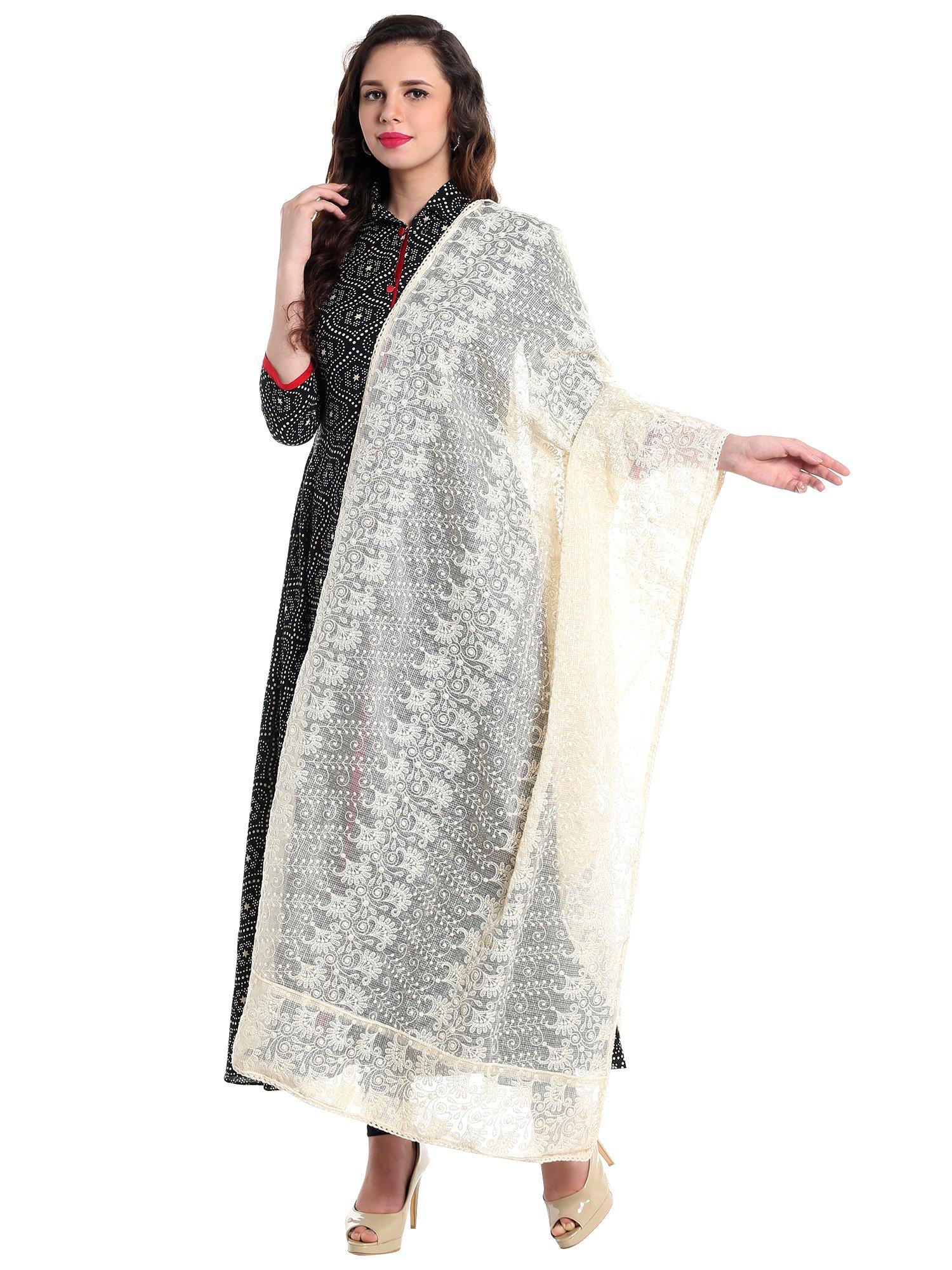 Dupatta Bazaar Women's Ivory Cotton Lucknowi Embroidery dupatta