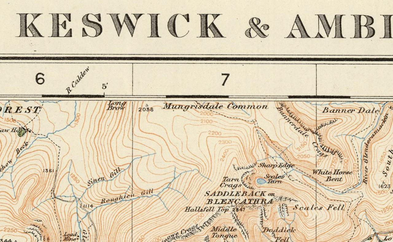 Keswick /& Ambleside Ordnance Survey of England and Wales 1920 Series Size 73 x 100 cm