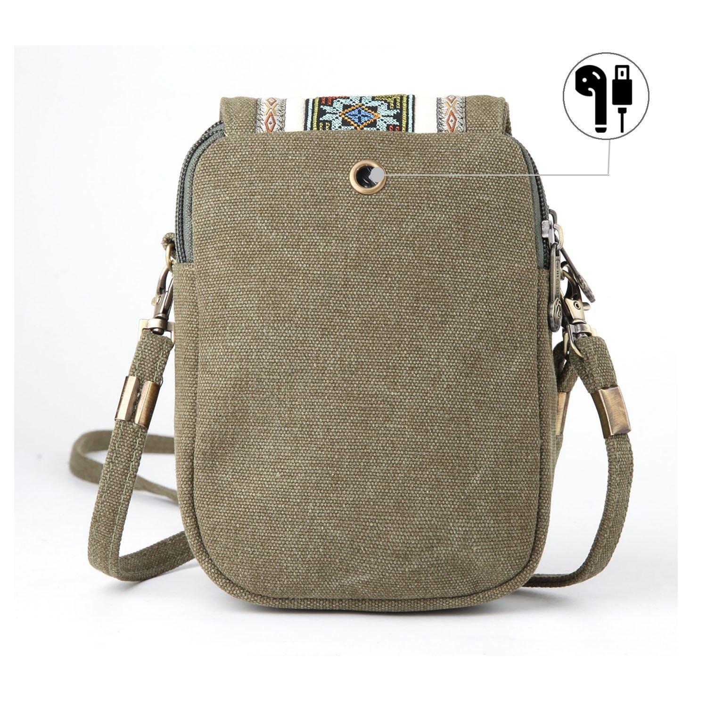 Goodhan Broderi Canvas Crossbody Väska Mobiltelefon Påse Myntväska för kvinnor A001 - Size Basic - Army Green