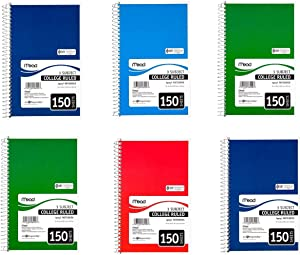 Mead Spiral Bound Notebook White, 3 Subject, College Rule, 6 x 9-1/2, Sold as 6 Pack (06900)