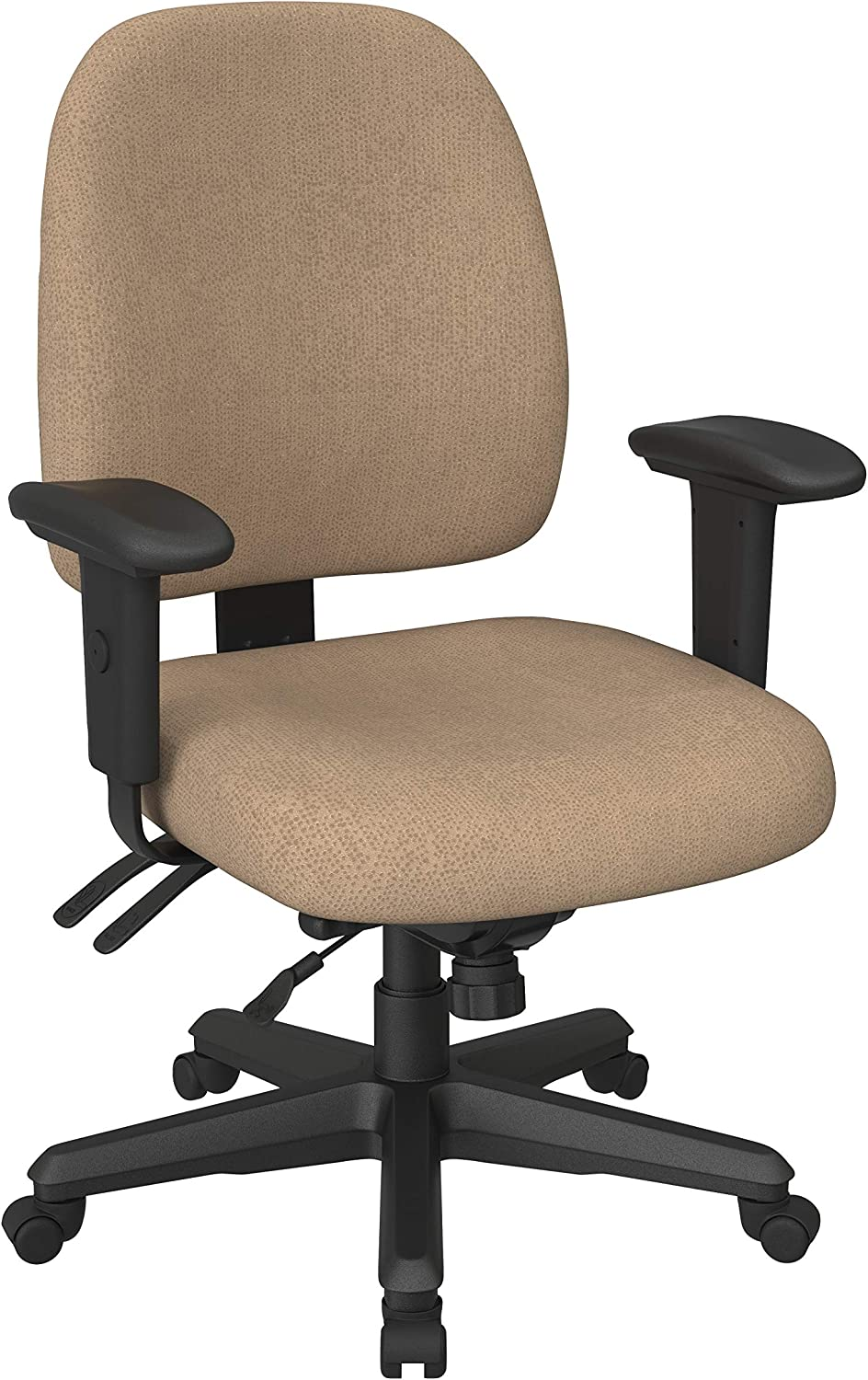 Office Star Mid Back Ergonomic Office Desk Chair with Adjustable Height, Tilt, and Padded Arm Rests in Twilight Angora Fabric