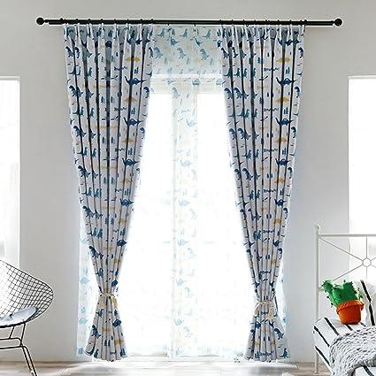 "Mai kuu Cartoon Coarr dinosaur Print Polyester Window Curtain Drape Pinch Pleated 84"" W x"