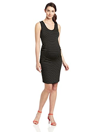 6e761531ae045 Ripe Maternity Women's Maternity Mia Stripe Tank Dress, Black/Almond, Small