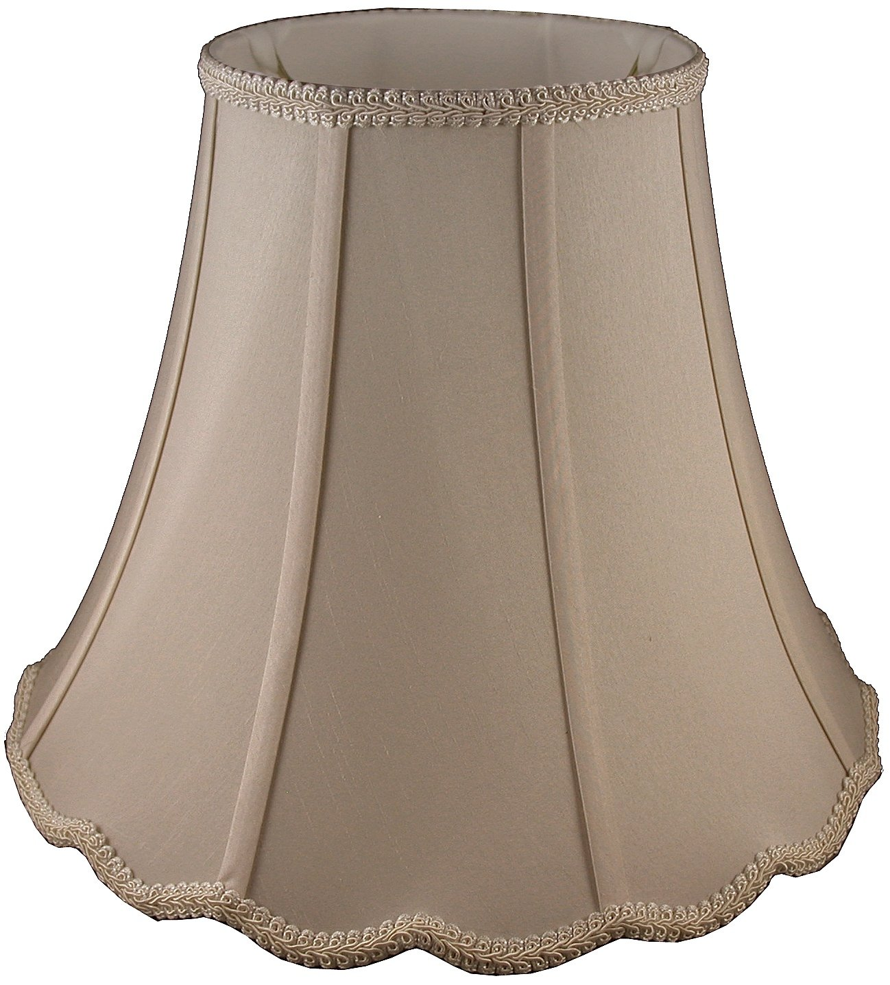 American Pride 10''x 20''x 15'' Scallop Soft Shantung Tailored Lampshade, Croissant