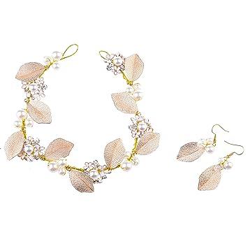Oshide Haarschmuck Hochzeit Vintage Gold Perlen Haarband Mit Blatt