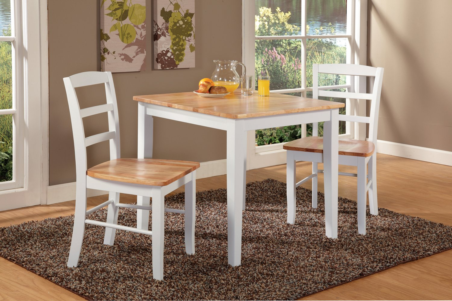 "International Concepts K02-3030-C2P-2 Dining Set, 30"", White/Natural - Solid wood dining table and two chairs Chair features box seat construction Table features shaker style legs and a butcher block top - kitchen-dining-room-furniture, kitchen-dining-room, dining-sets - 81Jy9yPZ45L -"