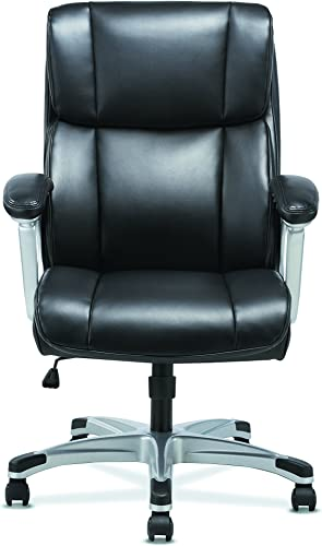 Sadie Executive Computer Chair- Fixed Arms for Office Desk, Black Leather HVST315