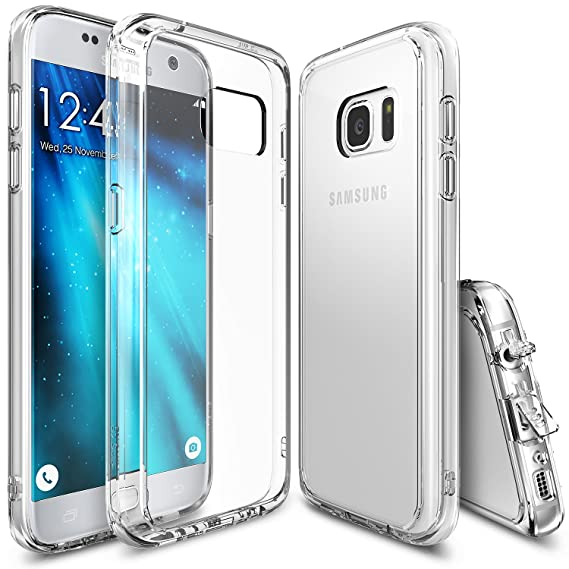 size 40 379c2 cf1a1 Ringke Fusion Compatible with Galaxy S7 Case Brilliant Clear Minimalist  Hybrid Fortified PC Back TPU Bumper [Impact Resistant, Shock Absorption]  for ...