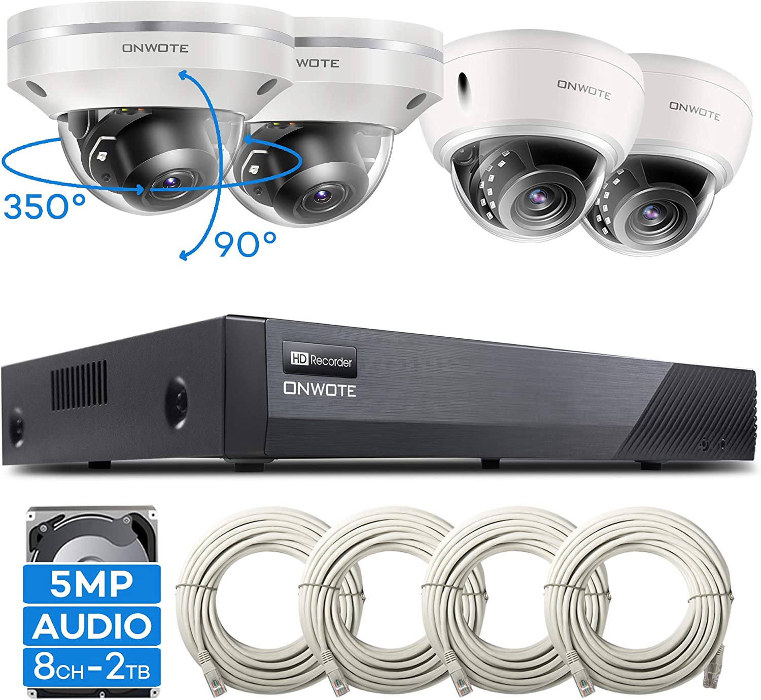【PTZ】 ONWOTE 8CH 5MP Super HD PoE Security Camera System Dome, (2) 355° Pan 90° Tilt 3X Optical Zoom PoE Cameras, (2) Outdoor PoE IP Cameras, 100ft IR, 8CH 5MP H.265 NVR, Add 4 More Cameras