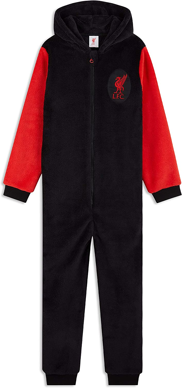 Liverpool F.C Pijama Hombre Invierno Entero con Capucha Pijama Hombre de Una Pieza Regalos para Hombres y Adolescentes Talla M-3XL Pijama Mono Forro Polar