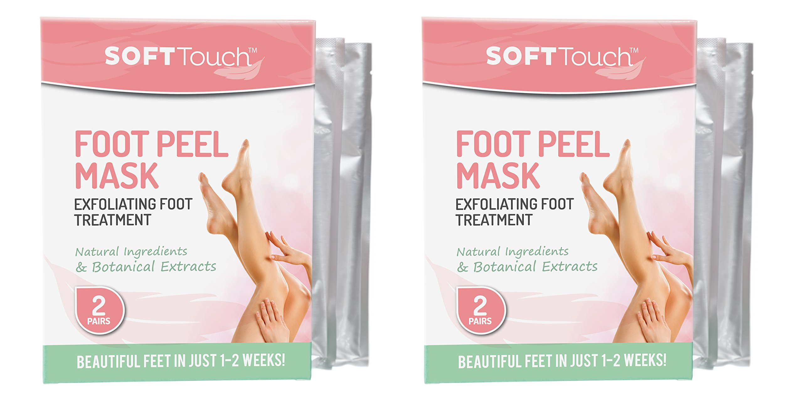 Soft Touch, Foot Peel Foot Mask (4 Pairs, 2 boxes) Exfoliating Callus Remover