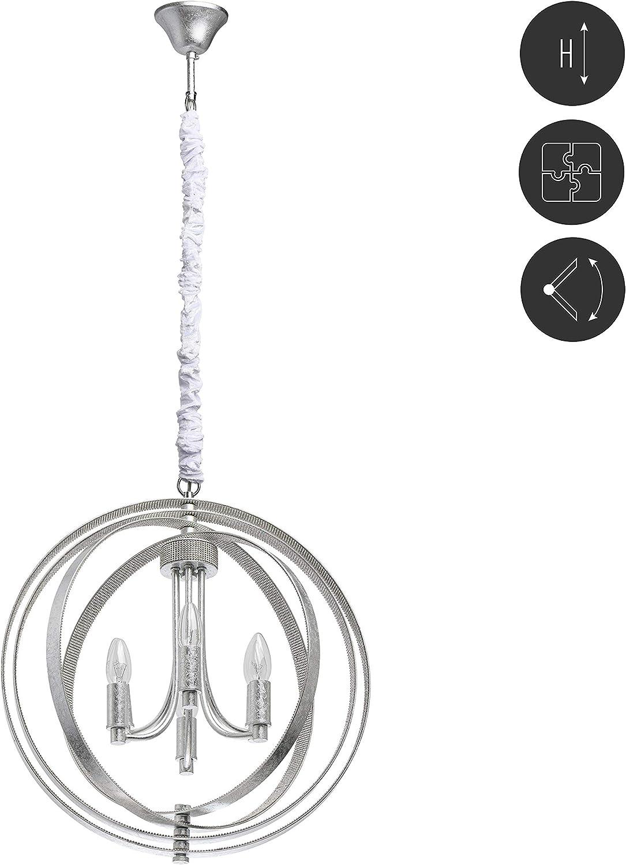 Chiaro 104012706 - Lámpara colgante con forma de vela en bola, estructura de metal con hojas plateadas y piedras de estrás, 6 anillos móviles, 40 W, E14, 220 V