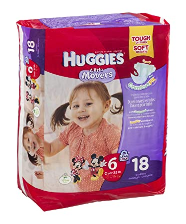 Huggies Diapers Little Movers Disney Size 6 (OVER 35 lb) 18 CT (Pack