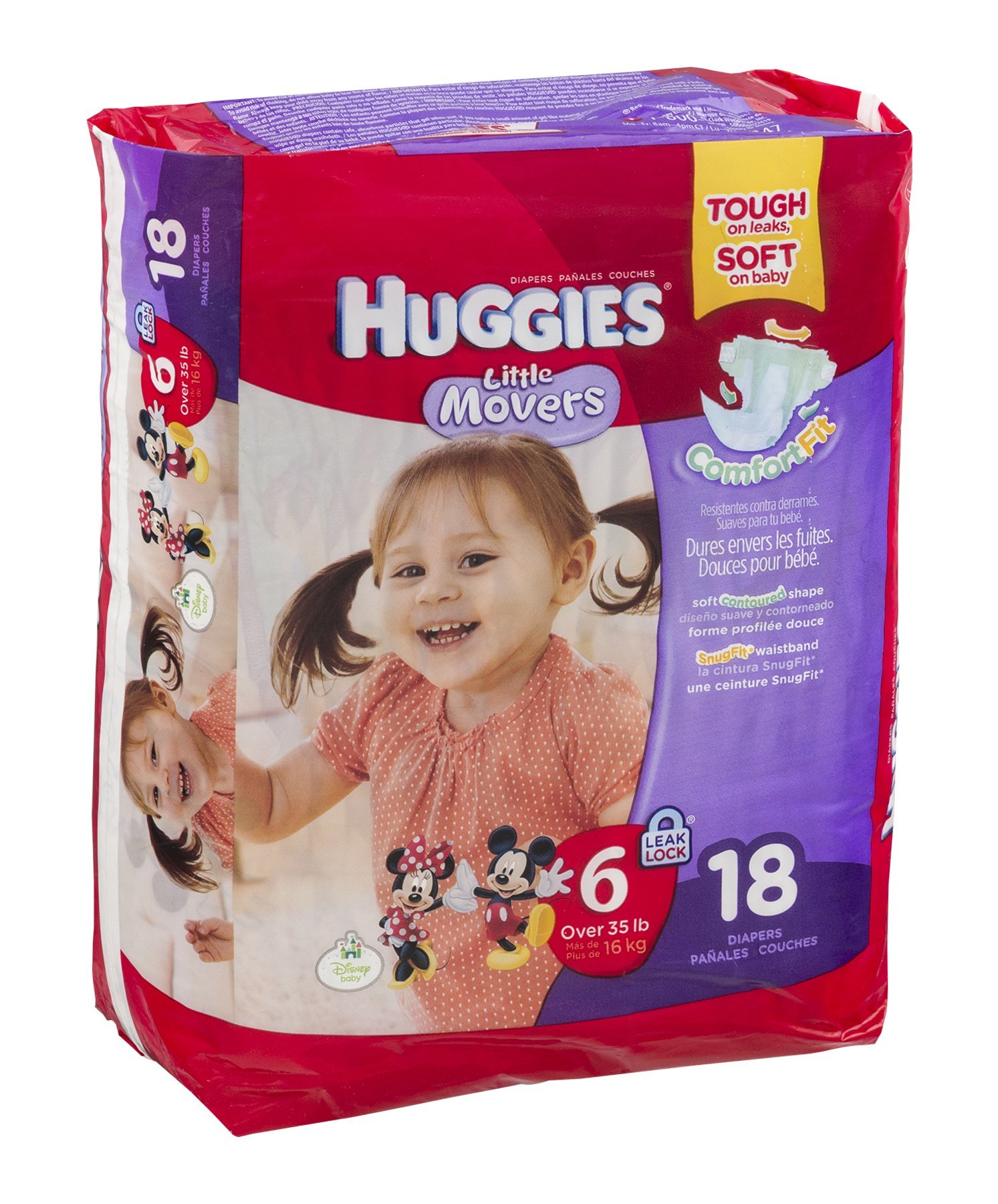 Huggies Little Movers Diapers Jumbo, Size 6, Over 35 lbs, 40799 (Case of 72)