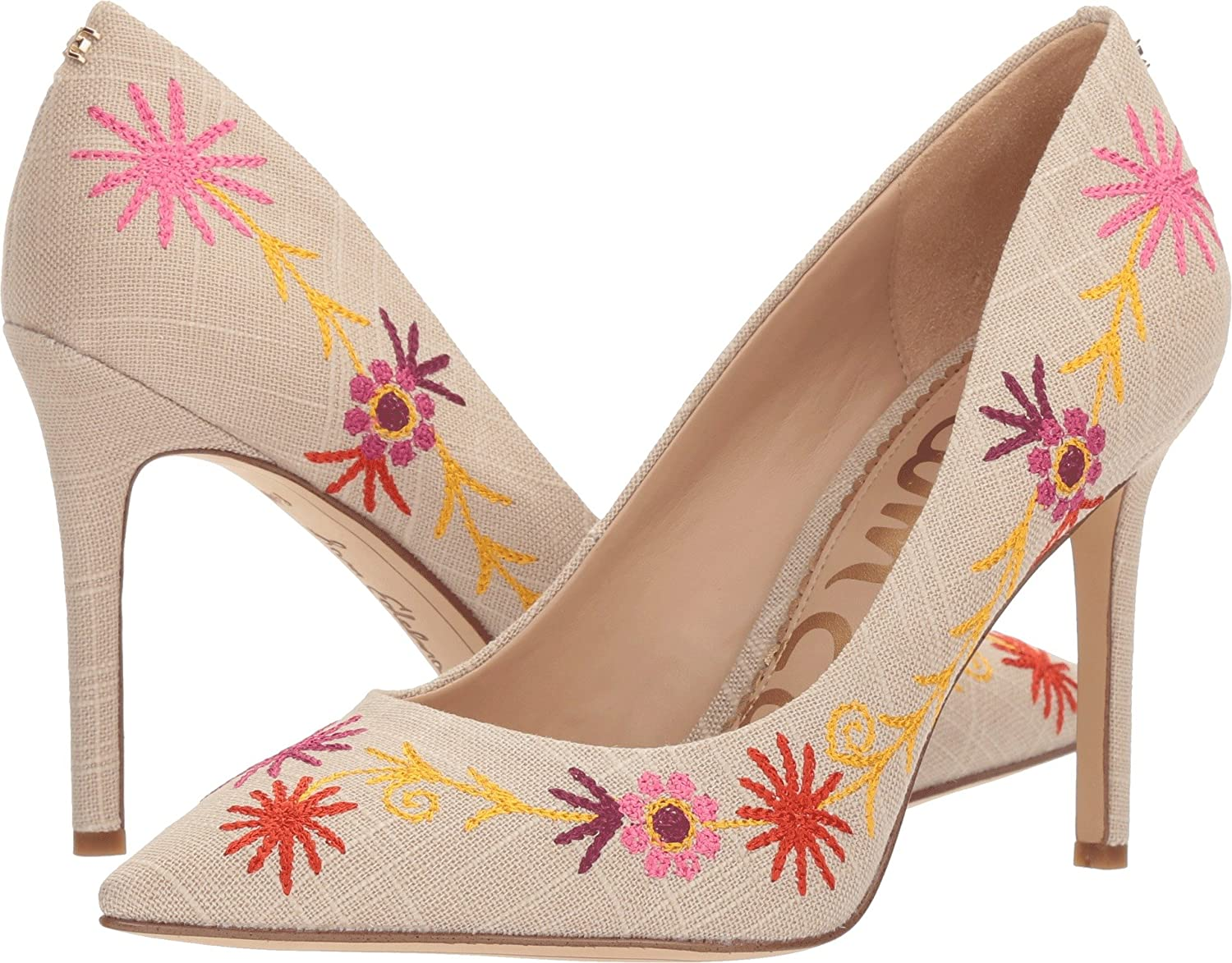 Sam Edelman Womens Hazel 4 B076JKTFDB 10.5 B(M) US|Natural/Yellow Multi Embroidery Kid Suede Leather