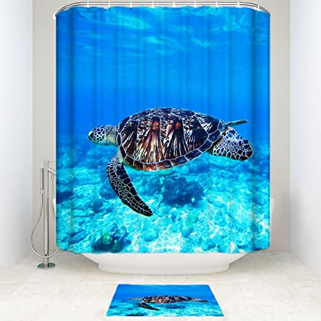 Blue Sea Turtles 14 Piece Bathroom Set Bath Rugs With Fabric Shower Curtain  And Decorative