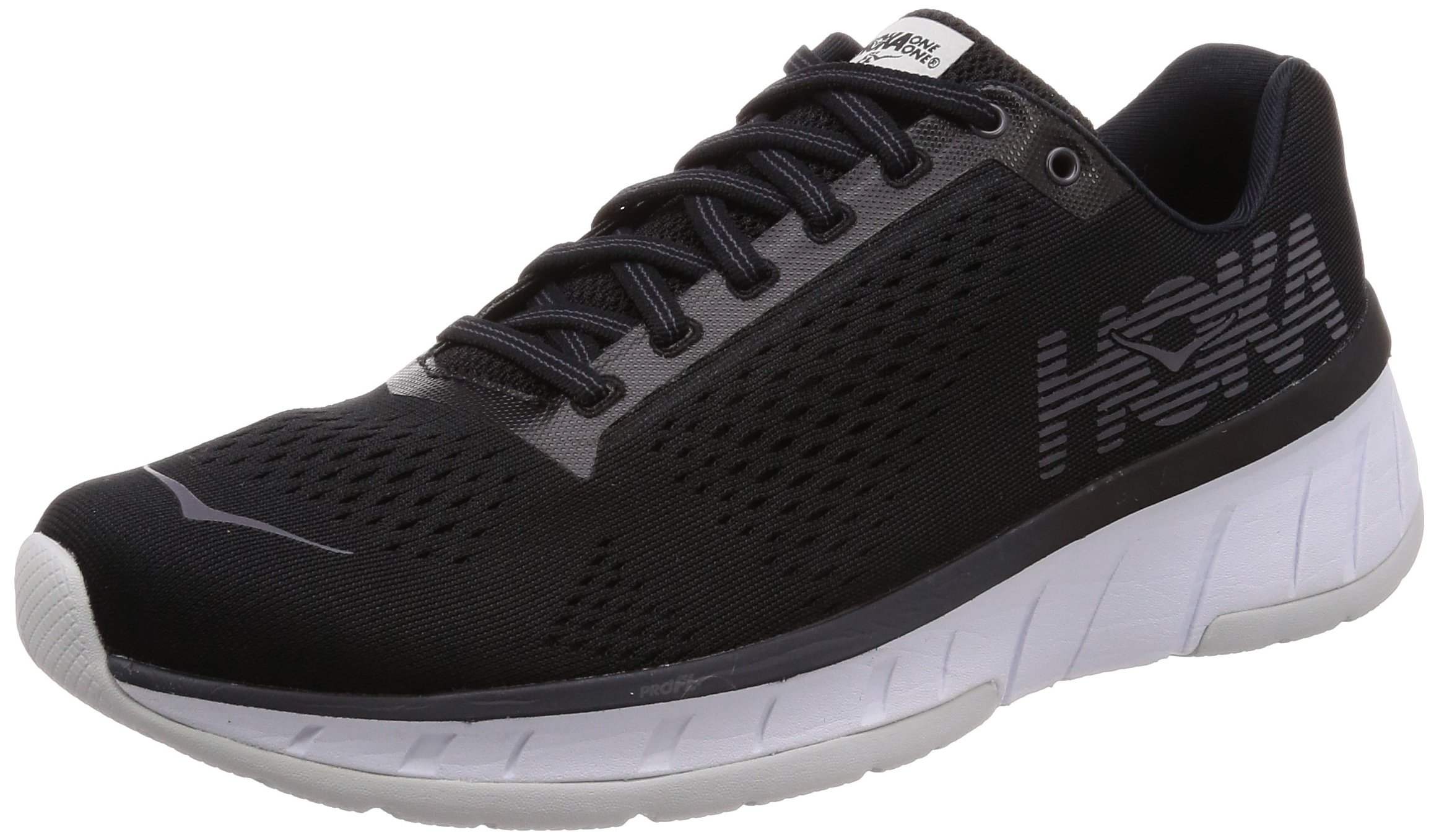 HOKA ONE ONE Mens Cavu Fabric Low Top Lace Up Running, Black/White, Size 8.0