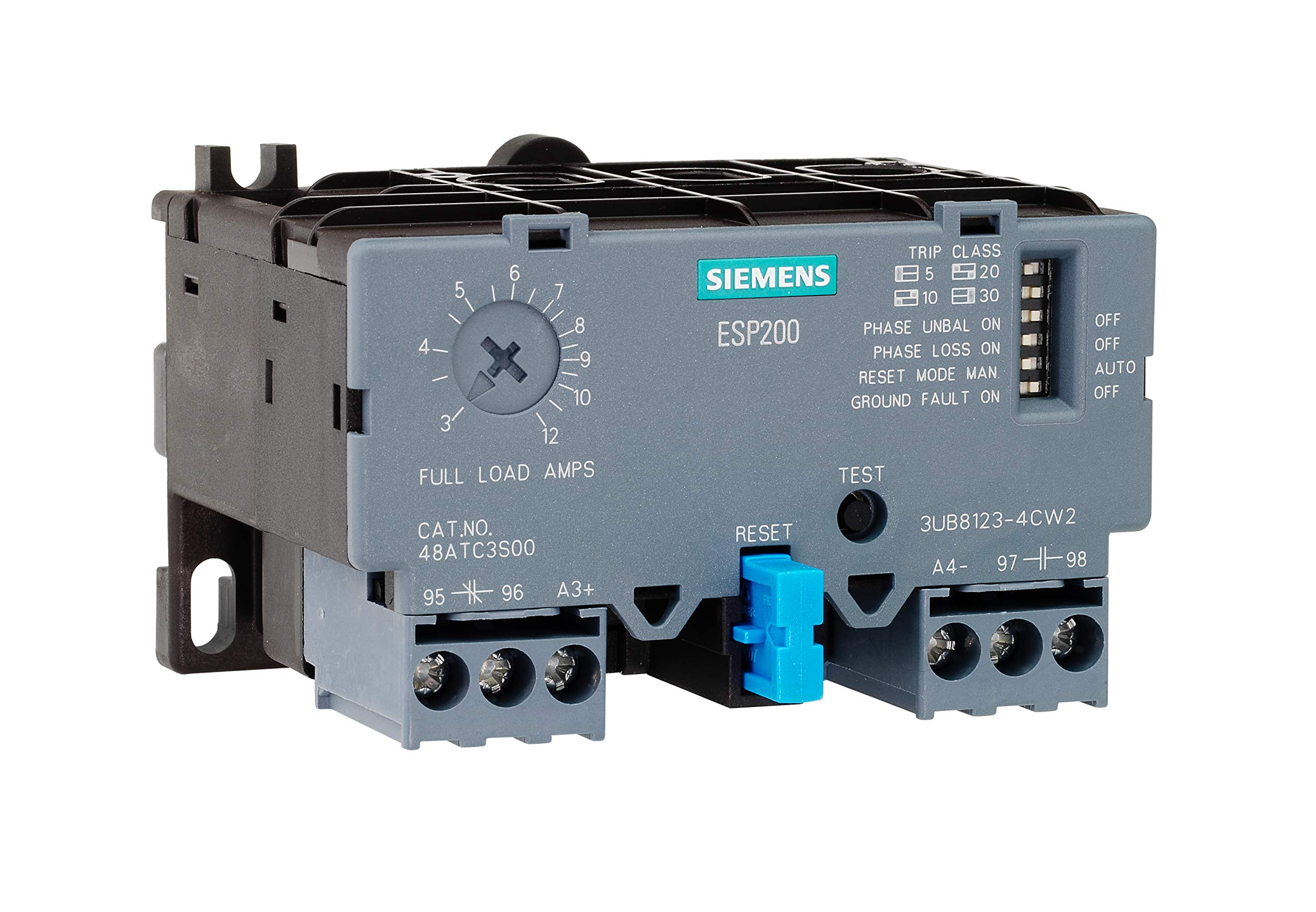 Siemens 3UB81234DW2 Solid State Overload Relay, ESP200 Catalog No. 48ATD3S00, 5.5 to 22A, Frame Size A1, 3-Phase, Class 5/10/20/30 Adjustable, Manual/Automatic Reset by SIEMENS