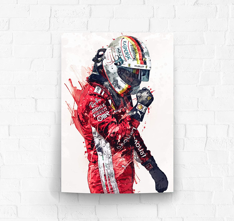 Amazon Com Topshelfprints Sebastian Vettel Ferrari Poster Canvas Print F1 Racing Artwork Kids Wall Decor Man Cave Sports Decor Clothing