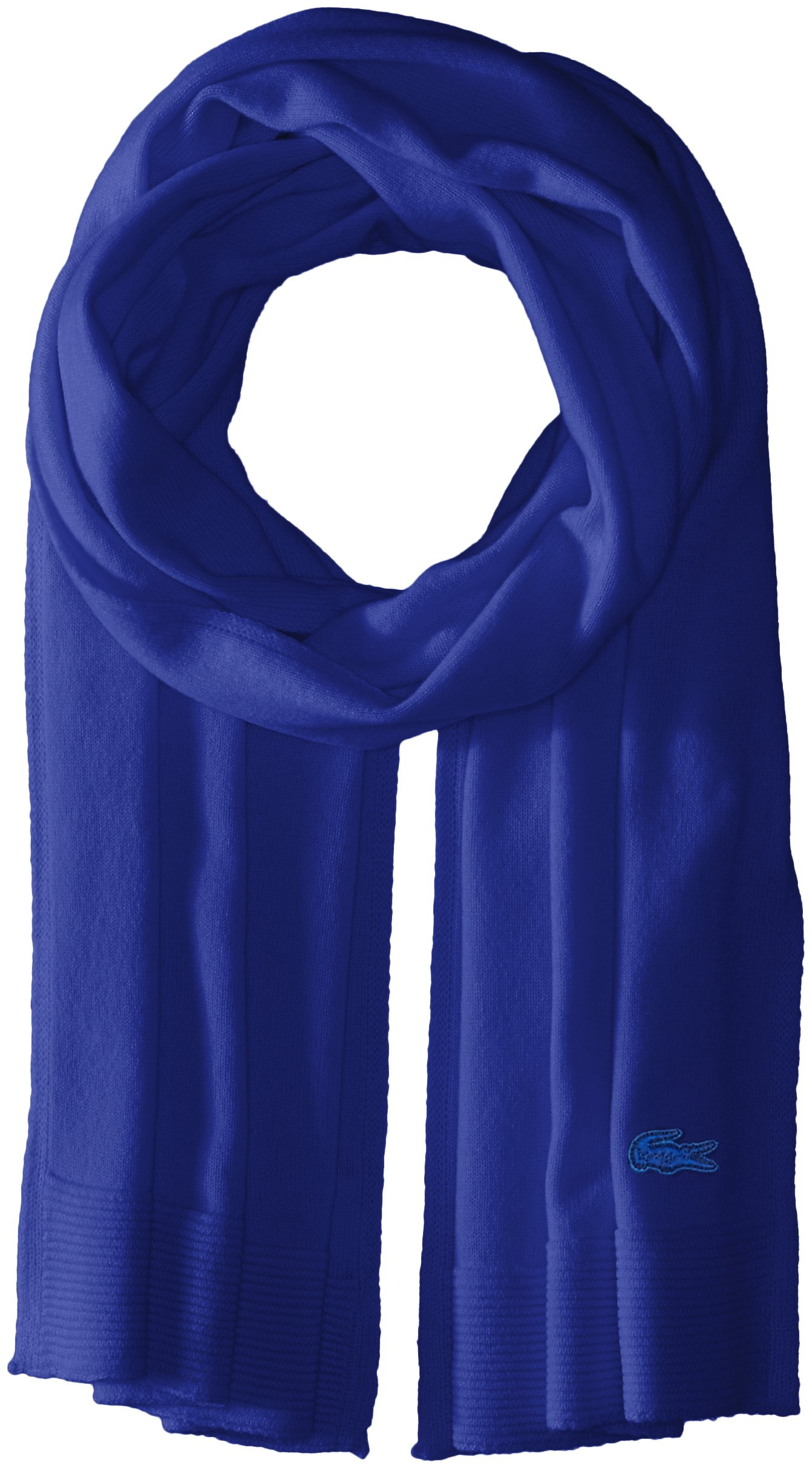 Lacoste Women's solid Fine Jersey Cashmere Scarf, Steamship Blue, One Size