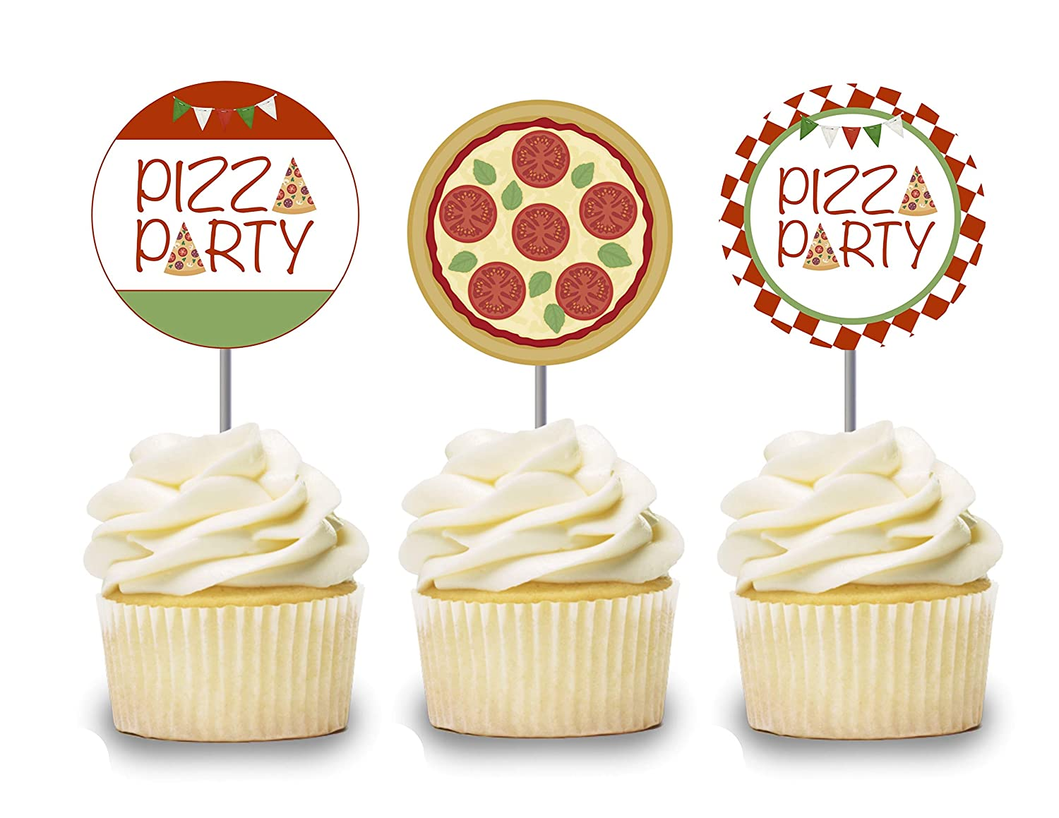 Pizza Cupcake Toppers 12 pcs, I Love Pizza Cake Picks Birthday Decoration, Build Your Own Pizza Party Supplies, Pizzaria Themed Baby Shower