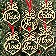 6Pcs Christmas Ornament ,Decorations Wooden Ornament Xmas Tree Hanging Tags Pendant Decor MML (multicolour)