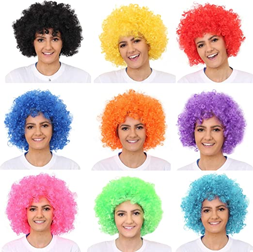 XXL GRÜN Clown-Perücke Afro-Perücke bunt Party Karneval Kostüm Fasching Disco
