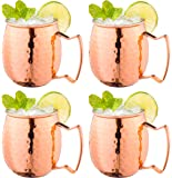 Moscow Mule Copper Mugs w/Handles (4-Pack) Classic Drinking Cup Set | Home, Kitchen, Bar Drinkware | Helps Keep Drinks Colder, Longer | Food-Grade Safe Lining