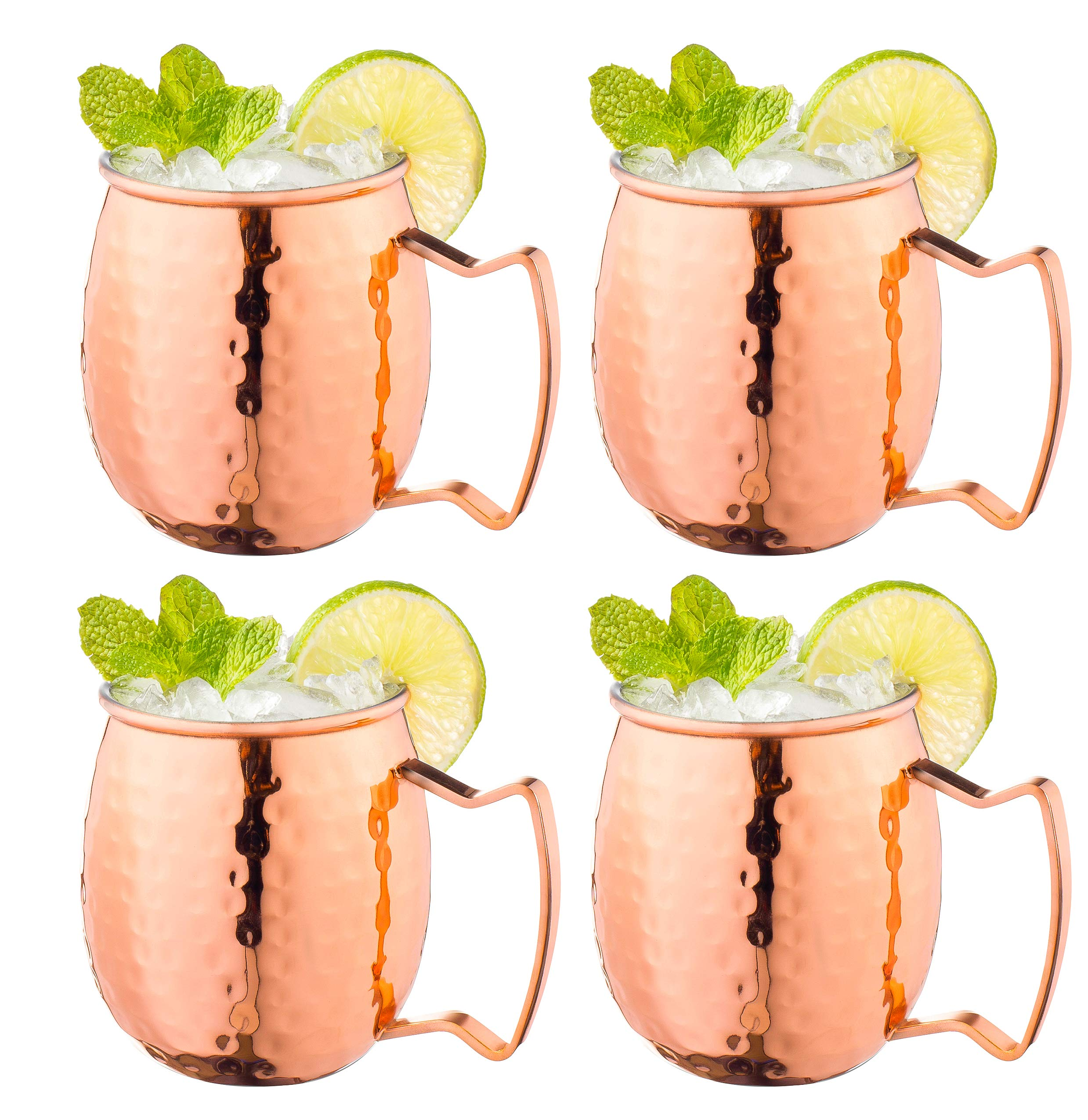 Moscow Mule Copper Mugs with Handles (4-Pack) Classic Drinking Cup Set Home, Kitchen, Bar Drinkware Helps Keep Drinks Colder, Longer Food-Grade Safe Lining by Fisher Home Products