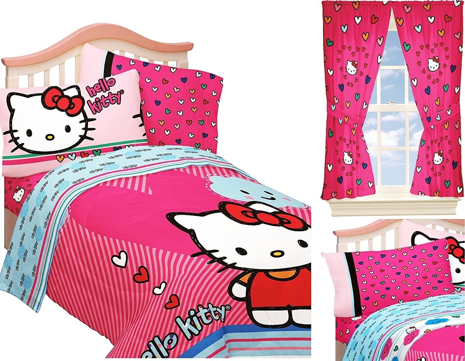 HELLO KITTY Twin or Full Size Bed Set forter & Sheets