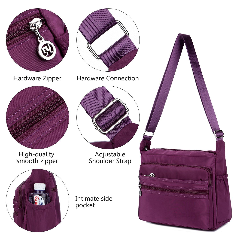 S, black 2 Size NOTAG Womens Shoulder Bag Multi Pocket Crossbody Bag Waterproof Tote Handbag Travel Purse Lightweight Messenger Bag for Casual Sport School Hiking Travel