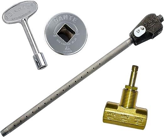 Dante Products LP.GVS.CR Universal Log Lighter Combo Kit with Liquid Propane Log Lighter, Straight 1/2-inch Globe Valve, Chrome Floor Plate and 3-Inch Key