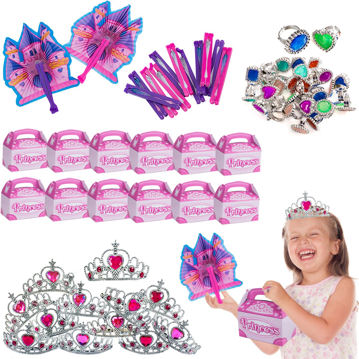 Tiaras Princess Party Supplies 72 Pc Set Party Favors Treat Boxes /& Princess Rings by Funny Party Hats Princess Fans