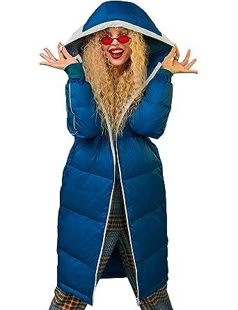 new product e8863 456c4 Elf sack Damen Daunenmantel Wintermantel mit Kapuze Parka Lang Leichte  Daunenjacke Hooded Down Coat