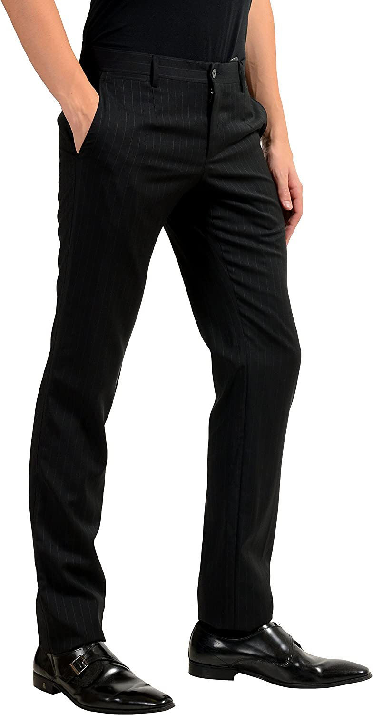 Dolce /& Gabbana Mens 100/% Wool Black Striped Dress Pants US 28 IT 44