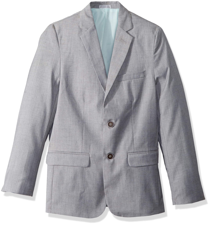 Calvin Klein Big Boys' Linen Blazer Jacket, Textured Light Grey, 8