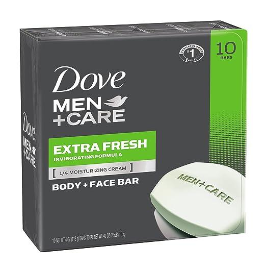 Dove Men+Care Body and Face Bar, Extra Fresh 4 Ounce, 10 Bar
