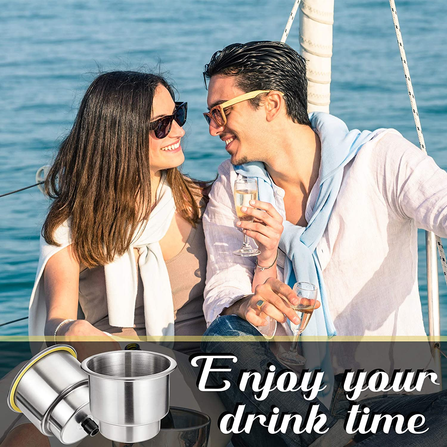 Silver 2 Pieces Stainless Steel Cup Drink Holder Boat Cup Drink Holder with Drain for Marine Boat RV Car Trailer