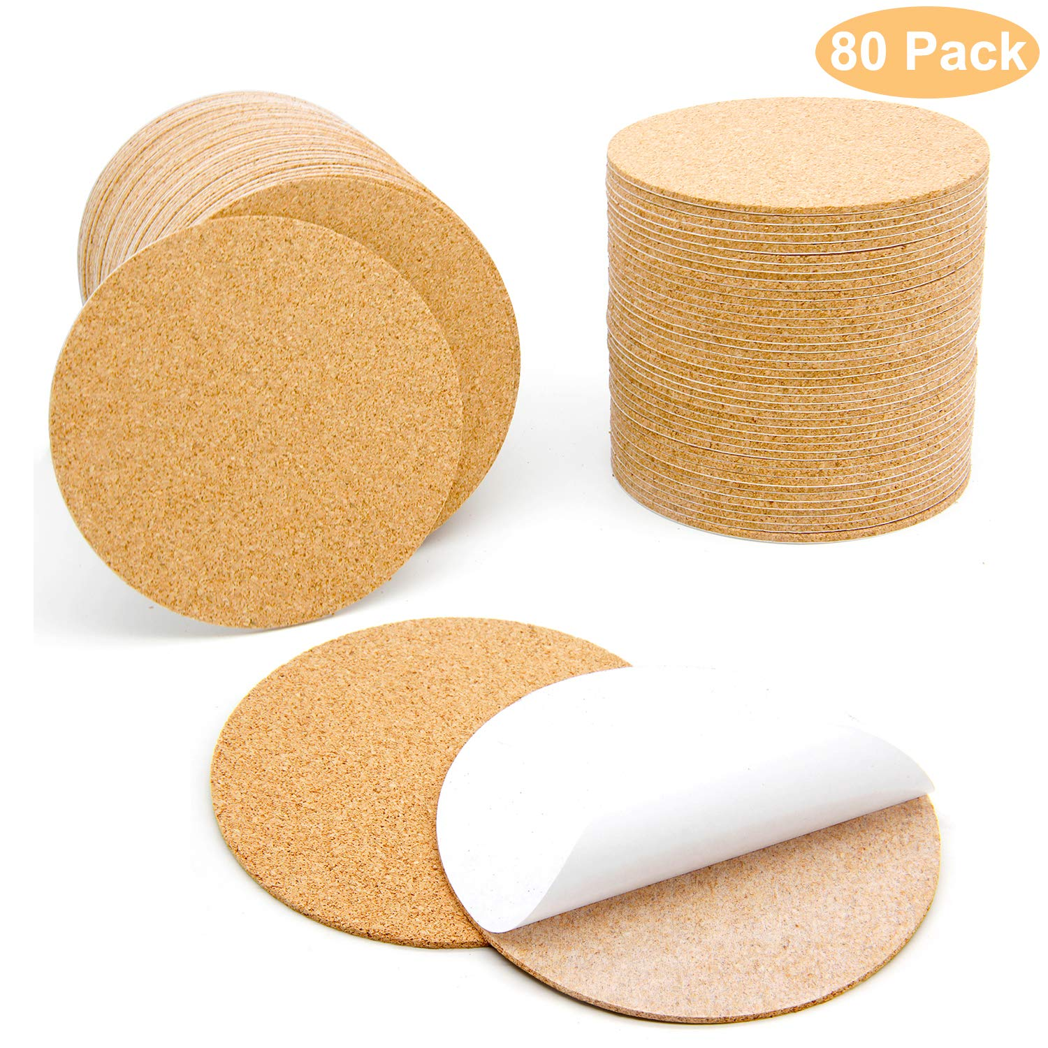 80 Pcs Self-Adhesive Cork Round for DIY Coasters, 4''x 4'' Cork Circle, Cork Tiles, Cork Mat, Cork Sheets with Strong Adhesive-Backed by Blisstime by Blisstime
