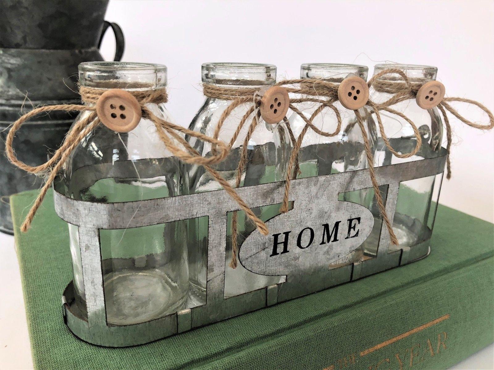 Four Vintage Glass School Milk Bottles In Crate Bud Vase Wire Basket Weddings
