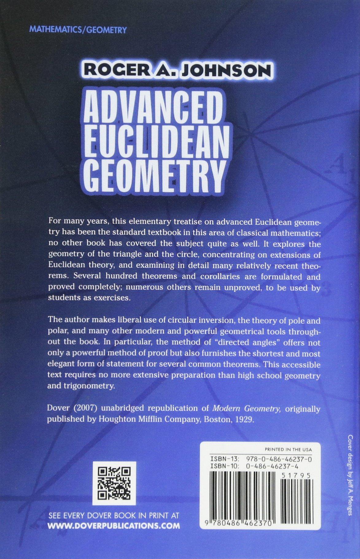 Advanced Euclidean Geometry (Dover Books on Mathematics): Amazon.co.uk:  Roger A. Johnson: 0800759462377: Books