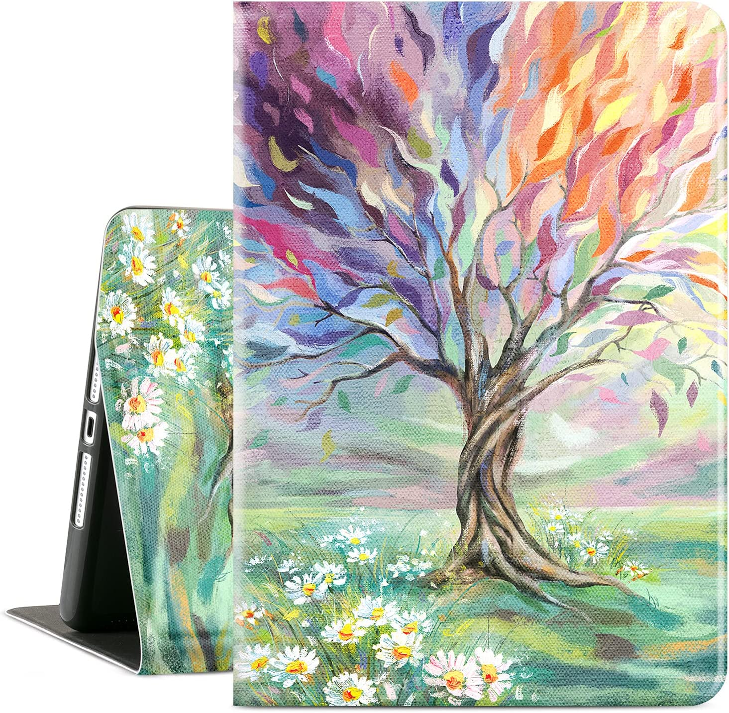 Cutebricase iPad 10.2 Case for iPad 8th Generation 2020, iPad 7th Generation Case 10.2 Inch iPad Case Multi-Angle View Adjustable Stand Soft PU Inner Back Auto Wake/Sleep(Oil Painting Tree)