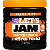 Hair Gel by SoftSheen-Carson Dark and Lovely Let's Jam, Shining and Conditioning Gel, Extra Hold, For all Hair Types, Styling Gel Also Great for Braiding, Twisting & Smooth Edges, Value Size 14oz