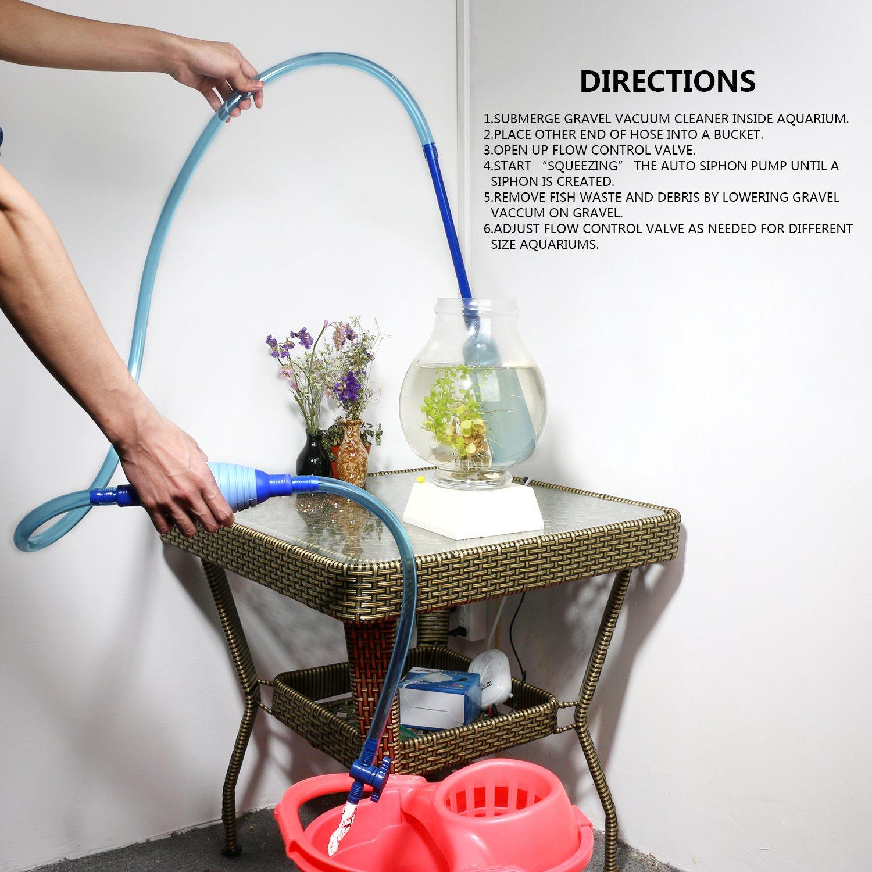 ueetek Aquarium Filter Reiniger Fisch Tank Kies Sand Vakuum Siphon Switch Control Wasser Changer 2,7/m