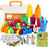 M-Aimee 90 Piece Kit Rainbow Counting Bears with Matching Sorting Cups, Number Color Recognition STEM Educational Toys for To